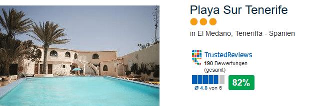 Playa Sur Tenerife drei Sterne Hotel mit 82% positiver Bewertung bei Trusted Reviews in El Medano