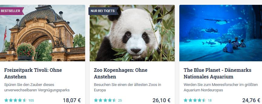 Screenshot Angebot - Attraktionen in Kopenhagen Dänemark