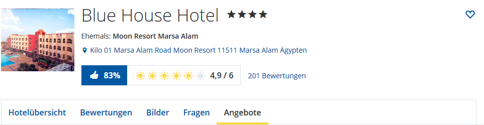 Screenshot Angebote Blue House Hotel Marsa Alam günstig online buchen • HolidayCheck Marsa Alam El Quseir Ägypten