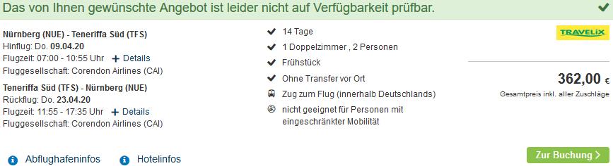 Screenshot Deal 2 Wochen Teneriffa nur 181,00€ - Pauschalreise