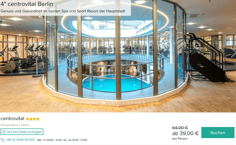 Screenshot Deal Centrovital Berlin - Angebote ab 39,00€ Spandau Wellness Hotel