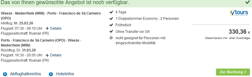 Screenshot Deal Costa Verde Urlaub - günstig ab 166,00€ Portugal