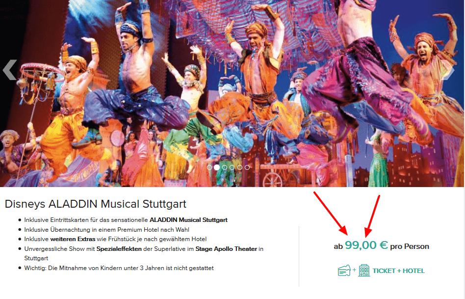Screenshot Deal Disney Aladdin Stuttgart - Muscial und Hotel ab 99,00€