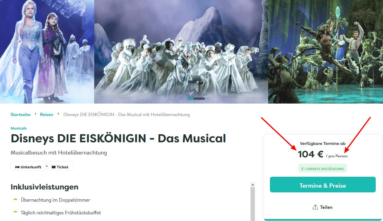 Screenshot Deal Eiskönigin Musical mit Hotel nur 104,00€ Hamburg