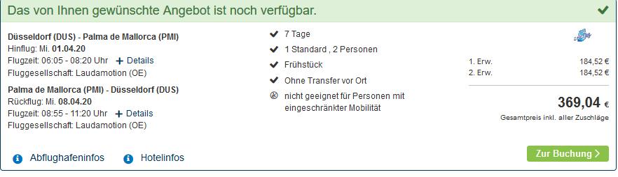 Screenshot Deal El Areanal Pauschalreise - ab 185,00€ eine Woche