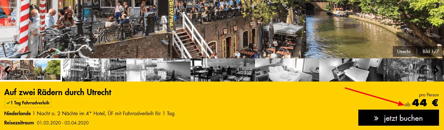 Screenshot Deal Fahrradverleih Utrecht inklusive Hotel nur 44,00€ !
