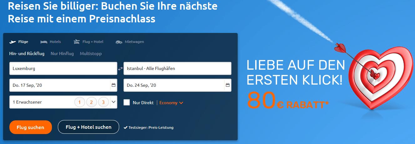 Screenshot Deal Flug Rabatt - 20,00€ günstiger fliegen Gutscheincode