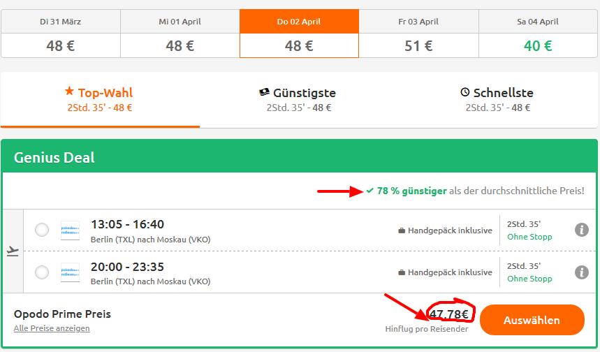 Screenshot Deal Flug nach Moskau - nur 47,78€ 78% günstiger buchen