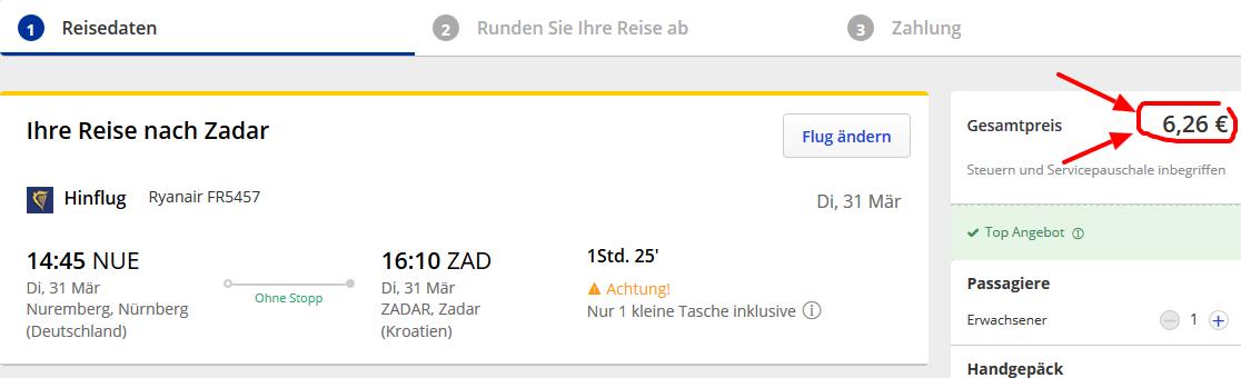 Screenshot Deal Flug nach Zadar günstig ab 6,26€ Kroatien Reiseangebot