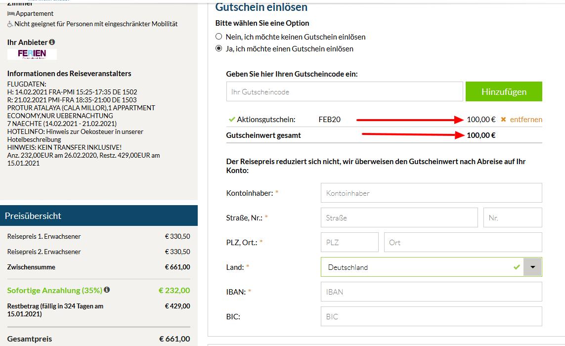 Screenshot Deal Gutschein Sonnenklar TV - 100,00€ Rabatt auf Alles !