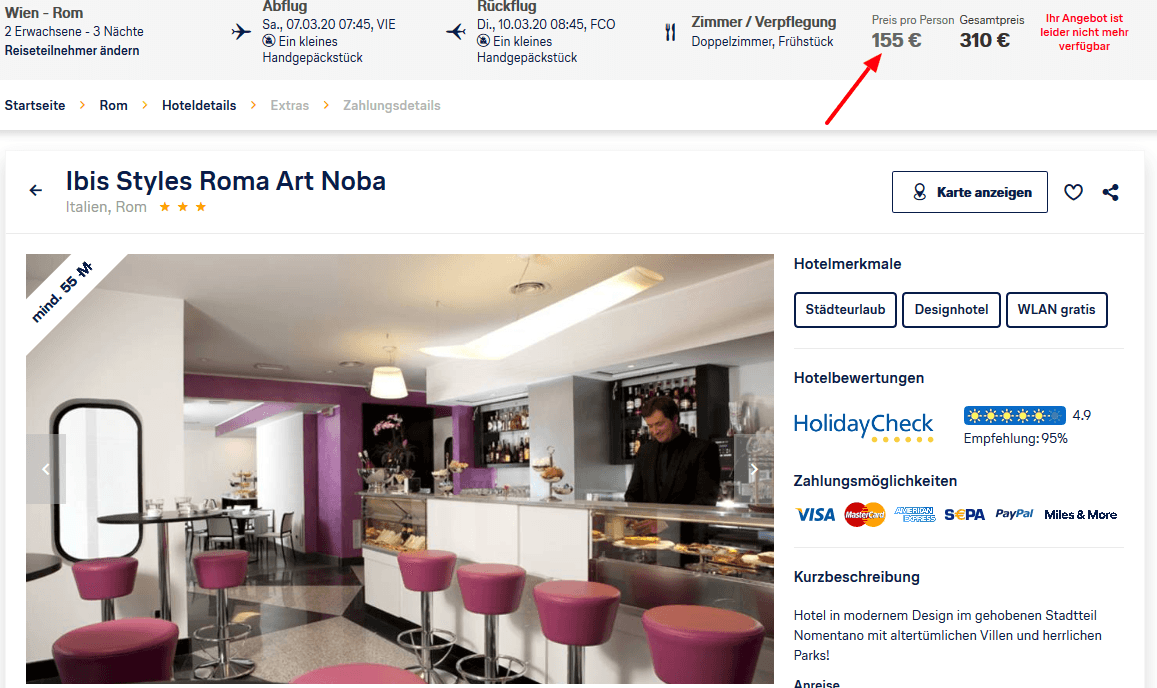 Screenshot Deal Ibis Styles Roma Art Norba 155,00€ - Flugreise