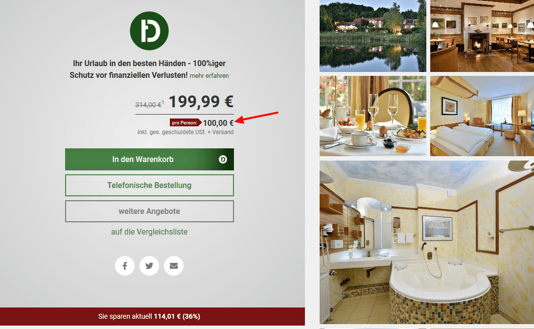 Screenshot Deal Köhlers Forsthaus - ab 50,00€ die Nacht Ostfriesland