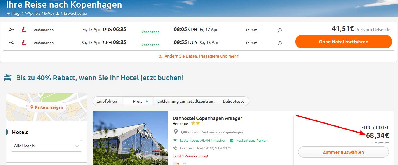 Screenshot Deal Kopenhagen Flug und Hotel 68,34 €