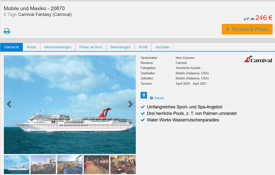 Screenshot Deal Kreuzfahrt Carnival Fantasy - 6 Nächte nur 246,00€