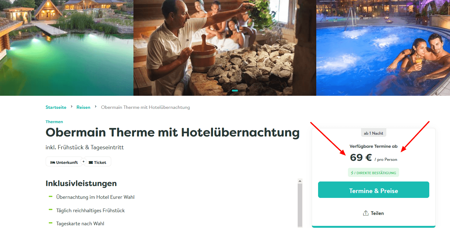 Screenshot Deal Obermain Therme & Hotel ab 69,00€ Bad Staffelstein