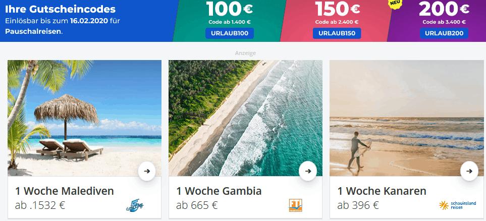Screenshot Deal Pauschalreisen Gutscheincode - 200,00€ Rabatt bei Holidaycheck