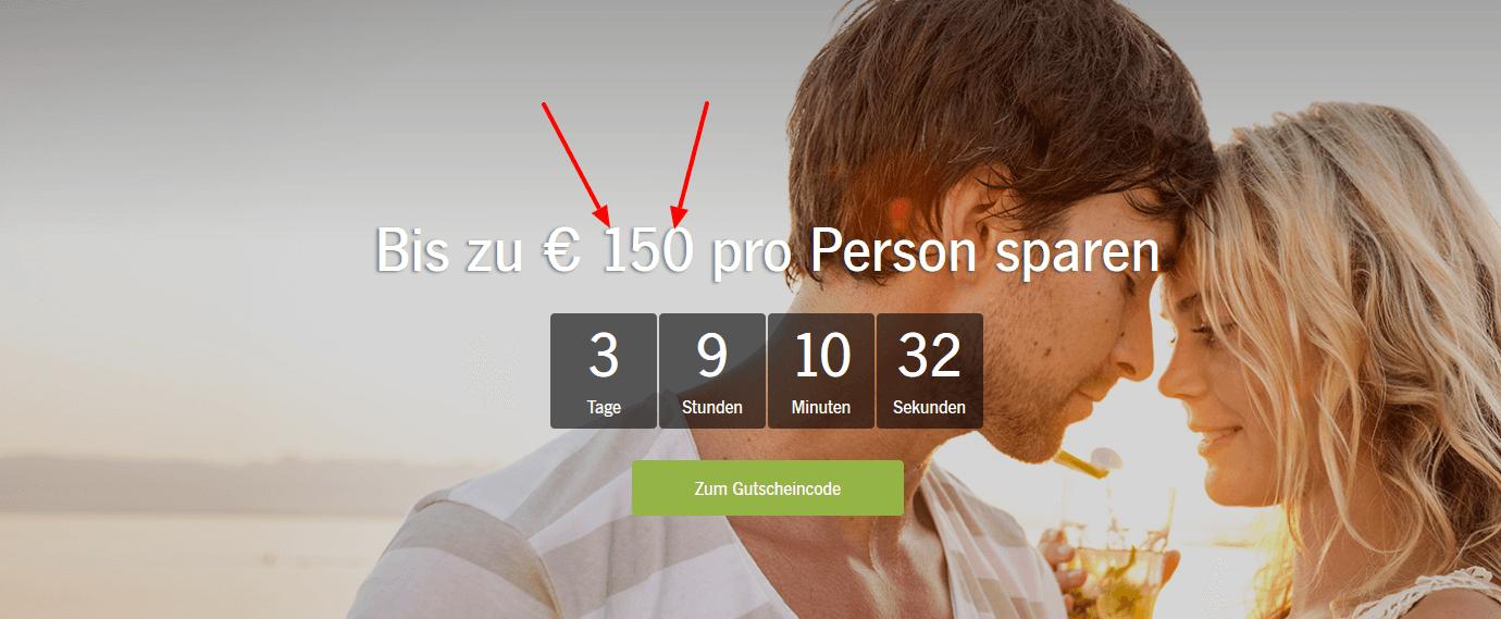 Screenshot Deal ROBINSON Gutschein - 150,00€ Rabatt auf deinen Urlaub