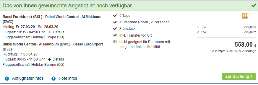 Screenshot Deal Ras Al Khaimah Hotel als Pauschalreise ab 279€ die Woche