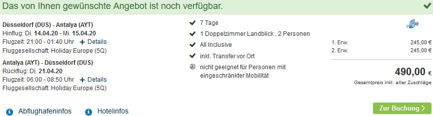 Screenshot Deal Side Urlaub - All Inclusive eine Woche ab 245,00€