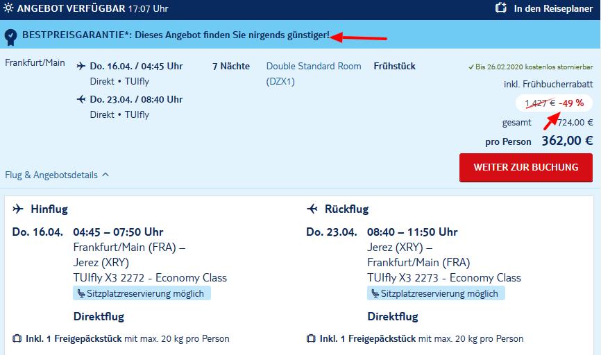 Screenshot Deal TUI BLUE Zahara Beach - 49% günstiger Pauschalreisen