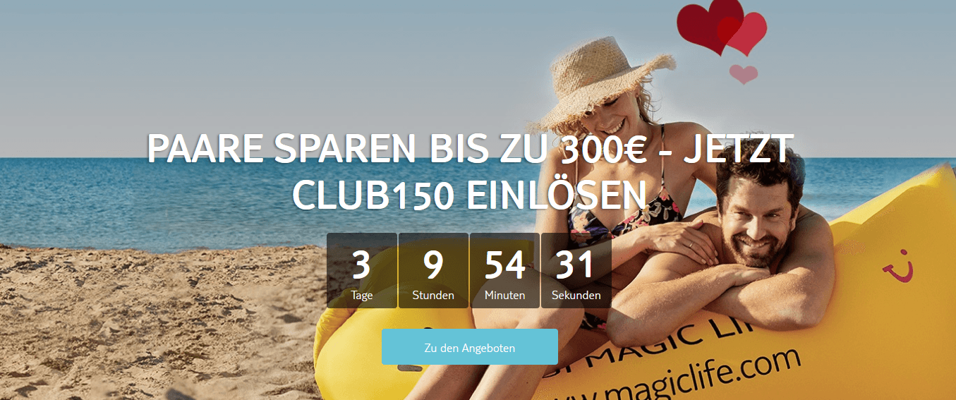 Screenshot Deal TUI MAGIC LIFE - Cluburlaub bis zu 300,00€ günstiger