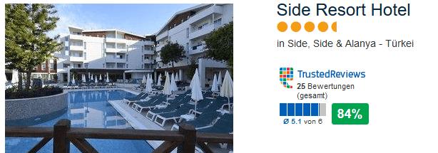Side Resort Hotel 4 Sterne 94% positive Bewertung
