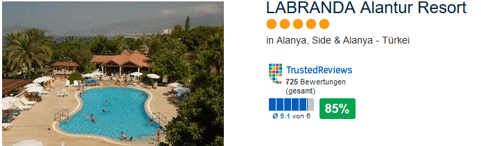 4 Sterne Hotel mit 85% positiver Bewertung in Alanya