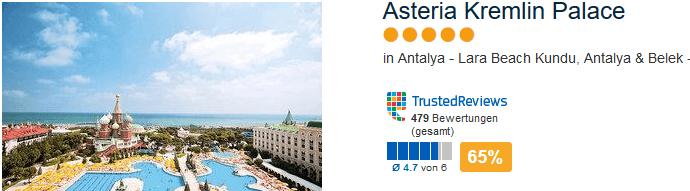 Asteria Kremlin Palace 5 Sterne Hotel am Lara Beach Kundu bei Antalya & Belek