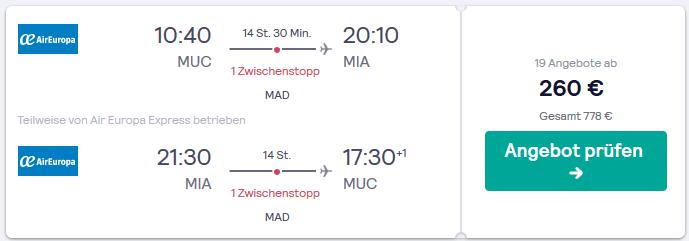 Fly & Drive Miami - ab 445,00€ 8 Tage Rundreisen - Screenshot nur Flug