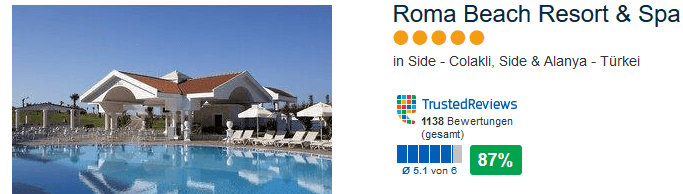 Roma Beach Resort & Spa 1138 Bewertungen bei Trusted Reviews 87% positiv