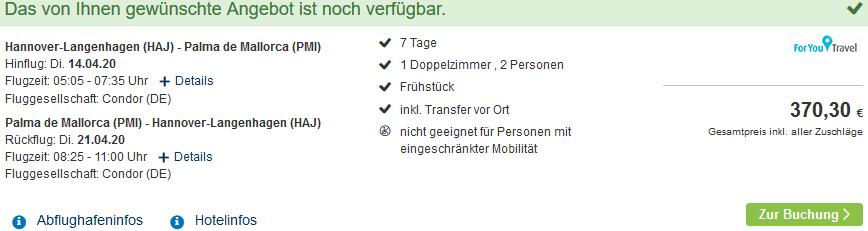 Screenshot Deal Ballermann Reisen - eine Woche ab 185,15€ beim Reiseveranstalter
