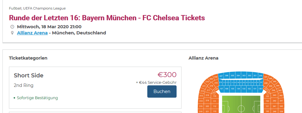 Screenshot Deal Bayern - Chelsea Tickets ab 300,00€ Champions League