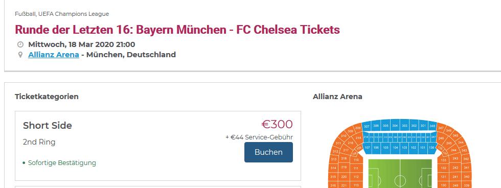 Screenshot Deal Bayern - Chelsea Tickets ab 300,00€ Champions League