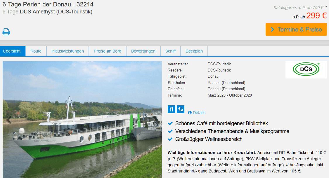 Screenshot Deal Donau Kreuzfahrt ab Passau - nur 299,00€ anstatt 799€!