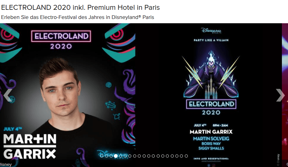 Screenshot Deal Electroland Paris - Disneyland Electro Festival Ticket & Hotel ab 139,00€