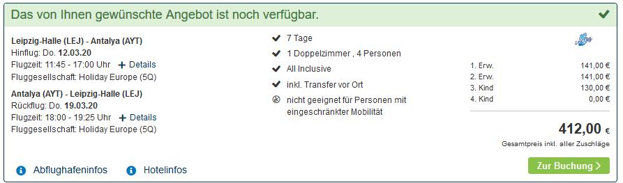 Screenshot Deal Familienurlaub Alanya - All Inclusive Pauschalreise 103,00€ p.P