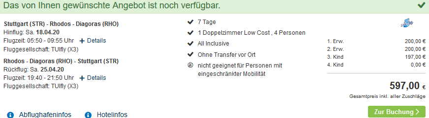 Screenshot Deal Familienurlaub Rhodos - All Inclusive ab 148,25€