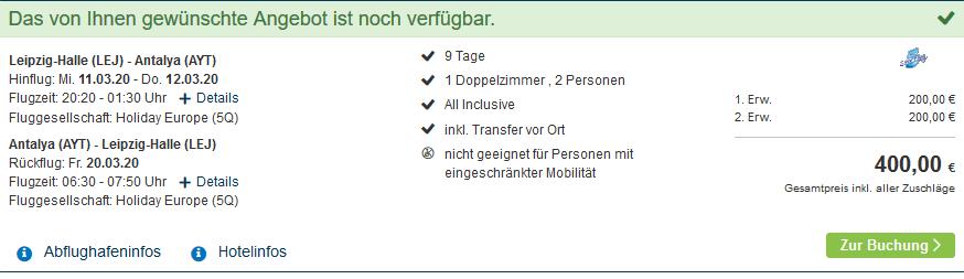 Screenshot Deal Familienurlaub Türkei Side - 9 Tage Pauschalreisen ab 200,00€