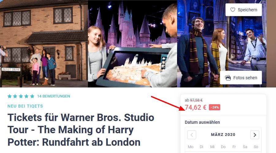 Screenshot Deal Harry Potter London - Tickets ab 74,62€ Warner Bros. Studio Tour