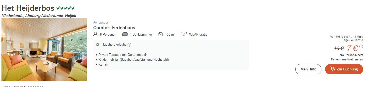 Screenshot Deal Het Heijderbos - Center Parc ab 7,00€ die Nacht günstig buchen