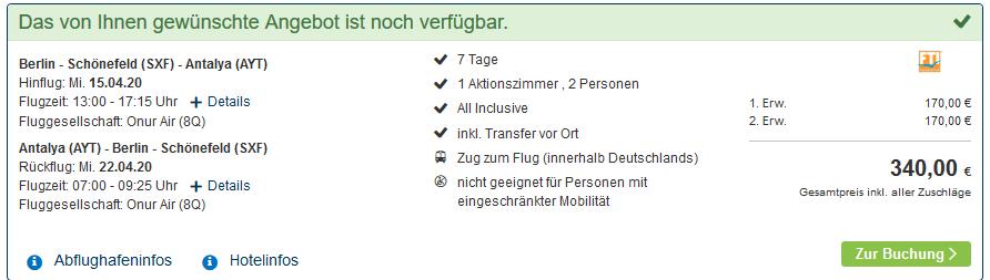 Screenshot Deal LABRANDA Alantur Resort - All Inclusive Pauschalreise ab 170,00€