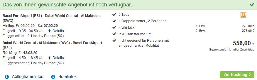 Screenshot Deal Last Minute Dubai - eine Woche Urlaub nur 278,00€