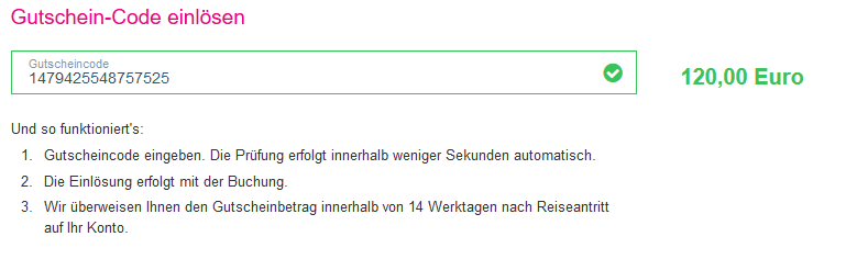 Screenshot Deal Last Minute Gutschein - 120,00€ Rabatt auf Urlaub