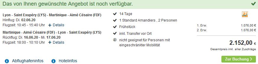 Screenshot Deal Martinique Urlaub - zwei Wochen ab 1076,00€