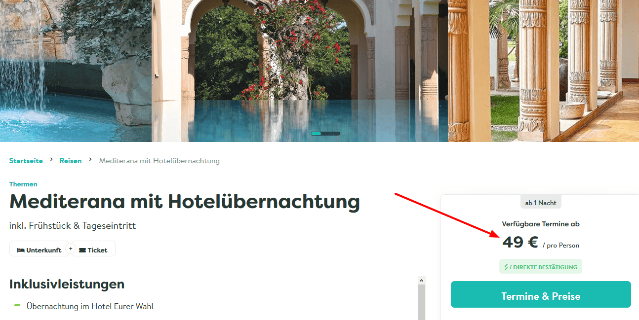 Screenshot Deal Mediterana Bergisch Gladbach - mit Hotel ab 49,00€