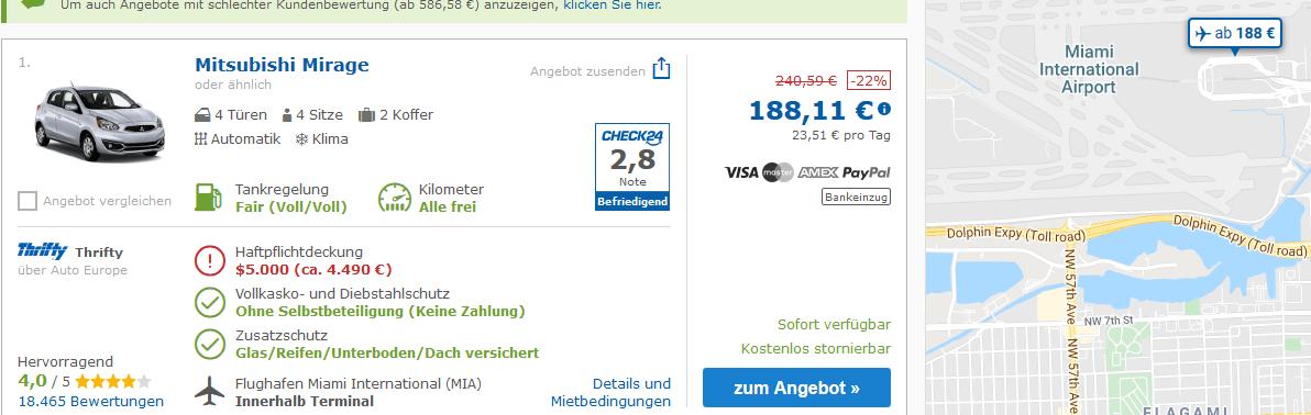 Screenshot Deal Miami Check24 Mietwagen nur 188,11€ für 8 Tage