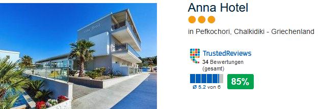 Anna Hotel drei Sterne über 80% positive Bewertungen