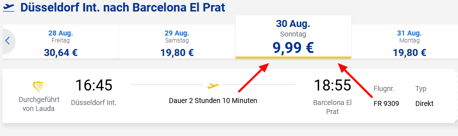 Screenshot Deal Barcelona Flüge ab 9,99€ Ryanair