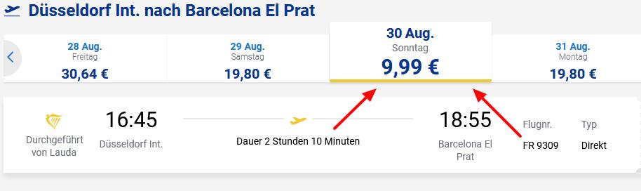 Screenshot Deal Barcelona Flüge ab 9,99€ Ryanair