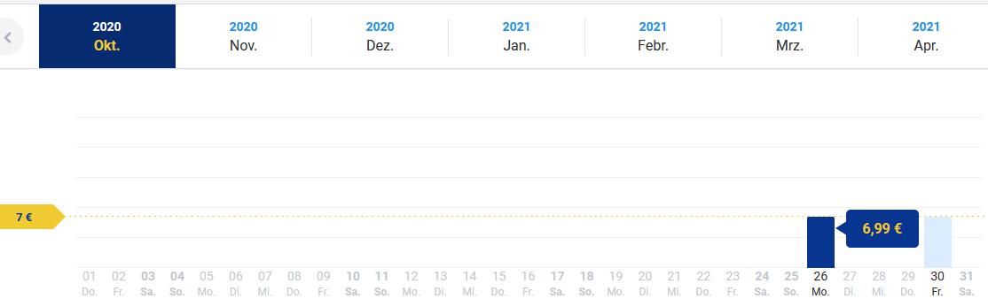 Screenshot Deal Flüge Vilnius günstig buchen ab 6.99€